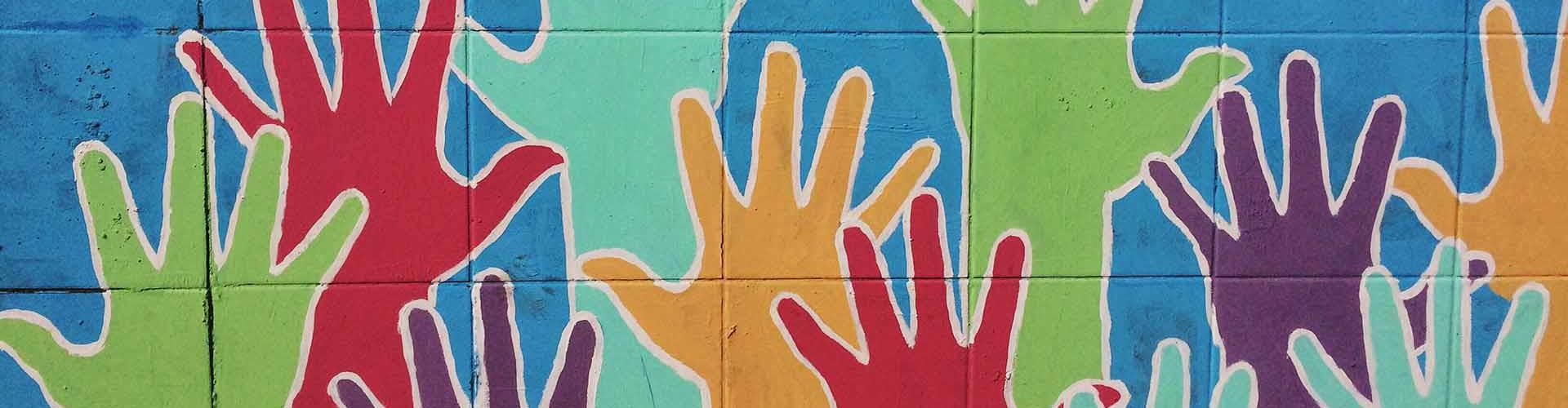 A mural featuring hands